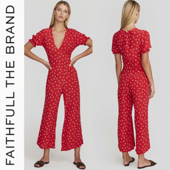 63dc9155b00 Faithfull the Brand Red Print Jumpsuit